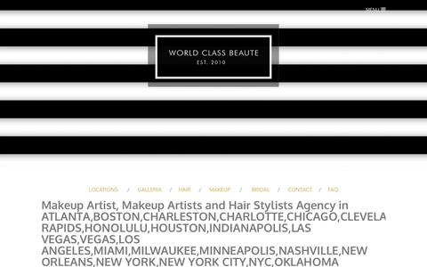 Screenshot of About Page Locations Page labellamafiabeaute.com - Hair + Makeup Agency Locations - La'Bella MAFIA BEAUTE AGENCY - captured Feb. 1, 2018