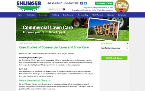 Screenshot of Case Studies Page ehlingerlawn.com - Ehlinger Lawn Service | Commercial Lawn Care Case Studies - captured Oct. 2, 2014