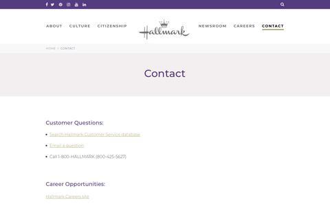 Screenshot of Contact Page hallmark.com - Hallmark Contact Information   Hallmark Corporate Information - captured July 3, 2018