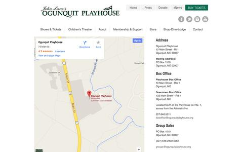 Screenshot of Contact Page Maps & Directions Page ogunquitplayhouse.org - Contact Us & Directions - captured Oct. 26, 2014