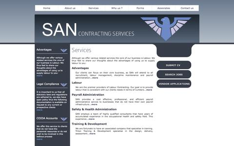 Screenshot of Services Page sanconserv.co.za - Contracting Services | Payroll administrative packages | Recruitment & Labour Management - captured Oct. 4, 2014