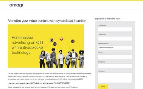 Screenshot of Landing Page amagi.com - Monetize your video content with dynamic ad insertion – Amagi GO - captured April 4, 2017