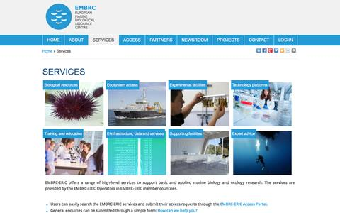 Screenshot of Services Page embrc.eu - Services   EMBRC - captured May 12, 2017
