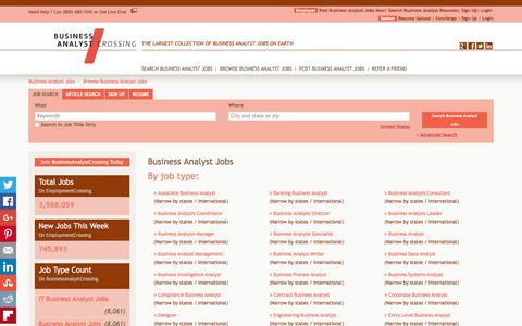 Screenshot of Jobs Page businessanalystcrossing.com - Business Analyst Jobs, Browse Jobs in Business Analyst By Job Type, City, State in United States   BusinessAnalystCrossing.com - captured Jan. 7, 2016