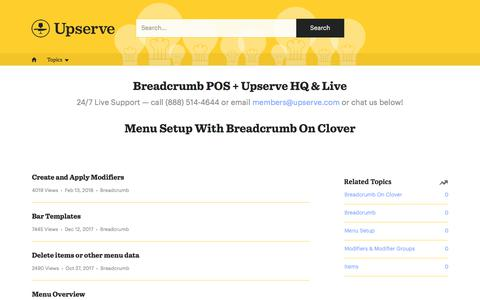 Menu Setup With Breadcrumb On Clover