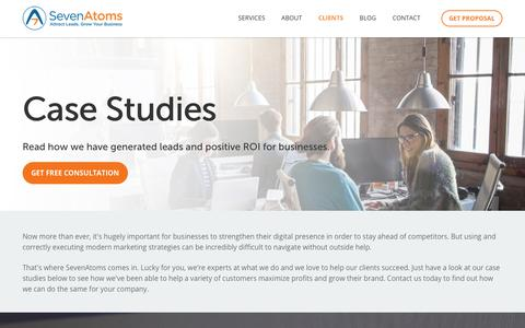 Screenshot of Case Studies Page sevenatoms.com - Hubspot Case Studies, PPC Case Study - captured June 19, 2017