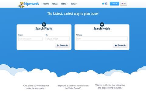 Screenshot of Home Page hipmunk.com - Cheap Flights, Cheap Hotels, and Travel Search | Hipmunk - captured Jan. 15, 2015