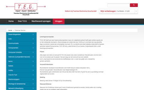 Screenshot of Support Page teg-bv.nl - Customer Service - captured Oct. 27, 2017