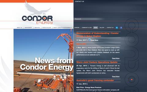 Screenshot of Press Page condorenergy.com.au - NEWS | Condor Energy - captured Sept. 29, 2018