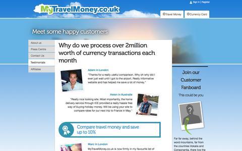 Screenshot of Testimonials Page mytravelmoney.co.uk - MyTravelMoney.co.uk Review And Customer Feedback - captured Sept. 22, 2014