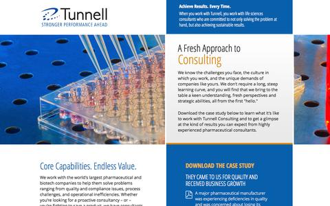 Screenshot of Landing Page tunnellconsulting.com - Tunnell Consulting: Unmatched Pharmaceutical Expertise - captured Oct. 27, 2014