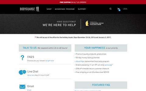Screenshot of Contact Page Support Page bodyguardz.com - BodyGuardz Customer Care - captured Dec. 28, 2016