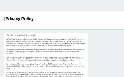 Screenshot of Privacy Page tabtimes.com - Privacy Policy - TabTimes - captured Sept. 24, 2017
