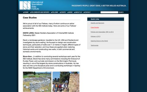 Screenshot of Case Studies Page issinstitute.org.au - Case Studies | International Specialised Skills Institute - captured Oct. 6, 2014