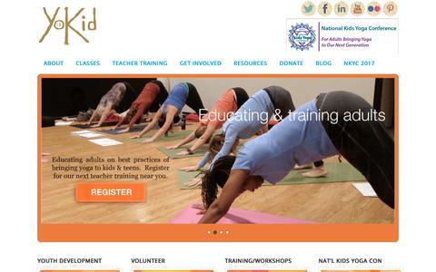 Screenshot of Home Page yokid.org - YoKid | Yoga for kids & teens in Washington DC, Maryland, & Virginia - captured Nov. 11, 2017
