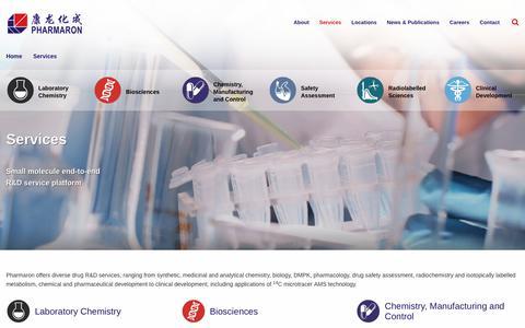 Screenshot of Services Page pharmaron.com - Services   Pharmaron - captured Oct. 18, 2017