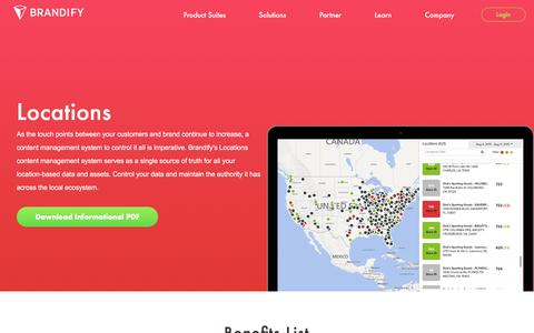 Screenshot of Locations Page brandify.com - Centralized Multi-Location Management System | Brandify - captured Dec. 5, 2016