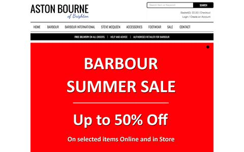 Screenshot of Home Page astonbourne.co.uk - Aston Bourne, Barbour Clothing, Hunter & Dubarry Boots - captured July 30, 2018