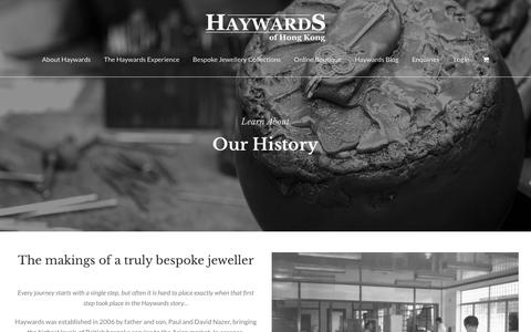 Screenshot of About Page haywards.com.hk - Our History - Haywards of Hong Kong - captured Sept. 27, 2018