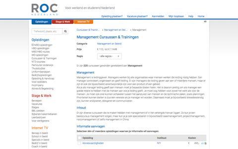 Screenshot of Team Page roc.nl - Management - Cursussen & Trainingen   ROC.nl   ROC.nl - captured Feb. 18, 2016