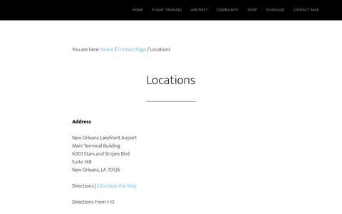 Screenshot of Locations Page gulfcoastaviation.com - Locations – Home of Gulf Coast Aviation Flight School - captured Jan. 26, 2018