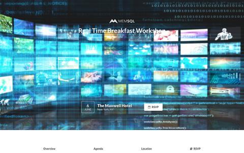Screenshot of Landing Page memsql.com - MemSQL: Real Time Breakfast Workshop - captured Sept. 20, 2018