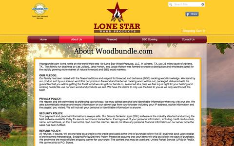 Screenshot of About Page woodbundle.com - All About Lone Star Wood Products - captured Nov. 13, 2016
