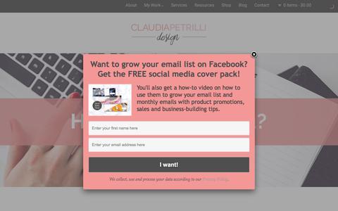 Screenshot of Services Page designbyclaudia.com - Services - Claudia Petrilli | Branding for Health & Wellness Coaches - captured Aug. 6, 2018