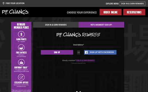 Screenshot of Signup Page pfchangs.com - Sign Up - captured Sept. 20, 2019