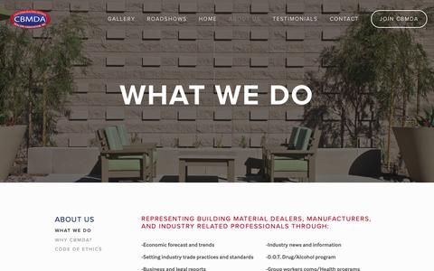 Screenshot of About Page cbmda.com - WHAT WE DO — CBMDA - captured Oct. 22, 2018
