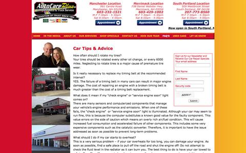 Screenshot of FAQ Page autocareplus.com - Auto Repair Merrimack NH, Manchester NH, South Portland, ME Brake Repair, Oil Change, Tune Up, Wheel Alignment, Axle Repair - Auto Care Plus New Hampshire & Maine - captured Sept. 30, 2014