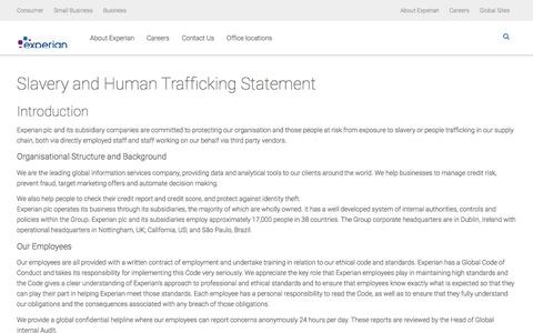 Slavery and Human Trafficking Statement | Corporate Responsibility |  Experian UK