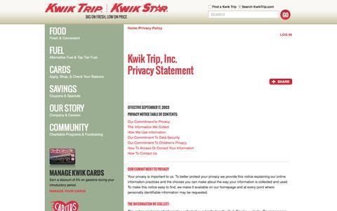 Screenshot of Privacy Page kwiktrip.com - Kwik Trip, Inc. - Privacy - captured Sept. 25, 2016