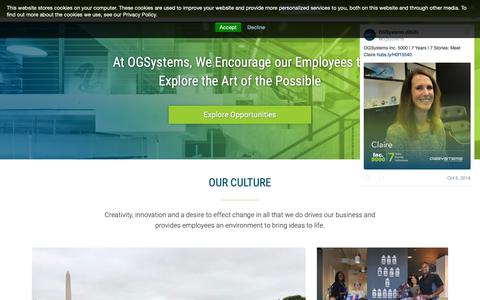 Screenshot of Jobs Page ogsystems.com - Careers | OGSystems - captured Oct. 13, 2018