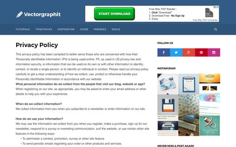 Screenshot of Privacy Page vectorgraphit.com - Privacy Policy on Vectorgraphit - captured Aug. 18, 2017