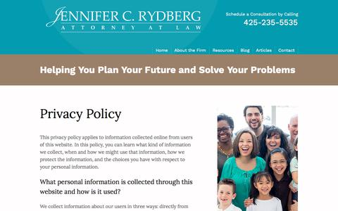 Screenshot of Privacy Page jcrlaw.com - Privacy Policy | Jennifer C. Rydberg, Attorney at Law | Seattle Washington - captured Oct. 16, 2017