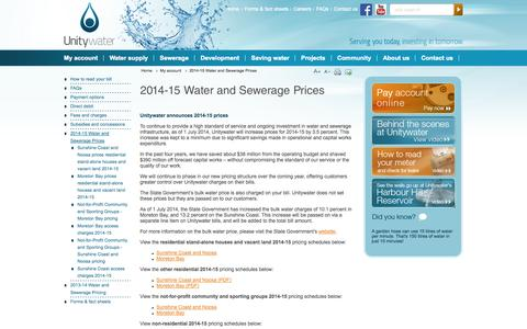 Screenshot of Pricing Page unitywater.com - Unitywater - 2014-15 Water and Sewerage Prices - captured Sept. 30, 2014