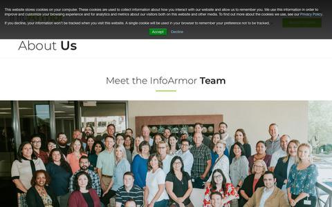 Screenshot of About Page infoarmor.com - Meet the Team | InfoArmor - captured Nov. 6, 2018