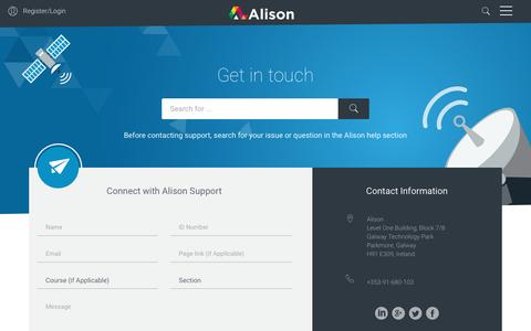 Screenshot of Contact Page alison.com - Free Online Courses, Training and Certification | Alison - captured April 26, 2017
