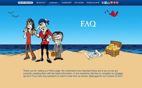 Screenshot of FAQ Page piratebrands.com - FAQ | Pirate Brands - captured Sept. 17, 2014