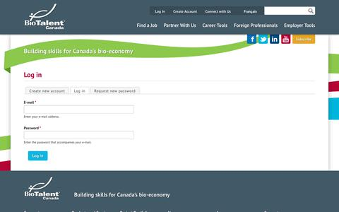 Screenshot of Login Page biotalent.ca - Log in | BioTalent Canada - captured Oct. 10, 2017