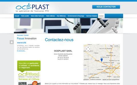Screenshot of Contact Page oceplast.fr - OCEPLAST   Contactez-nous - captured Oct. 9, 2014