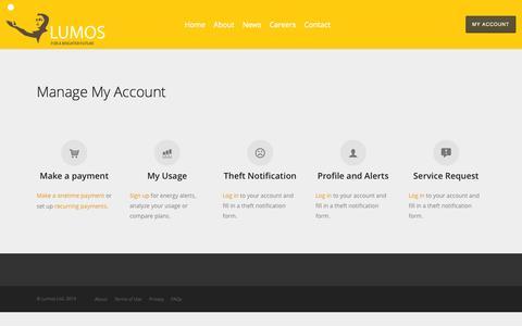 Screenshot of Services Page nova-lumos.com - Manage My Account | Nova-Lumos - captured Oct. 7, 2014