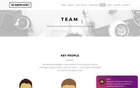 Screenshot of Team Page random.agency - Team | The Random Agency - captured Oct. 18, 2018