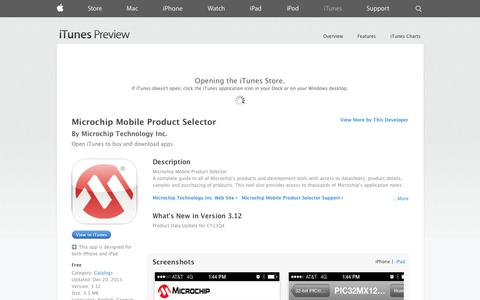 Screenshot of iOS App Page apple.com - Microchip Mobile Product Selector on the App Store on iTunes - captured Oct. 22, 2014