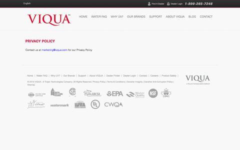 Screenshot of Privacy Page viqua.com - Privacy Policy - VIQUA - captured Sept. 23, 2014