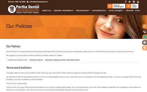 Screenshot of Privacy Page Terms Page parthadental.com - Partha Dental Clinic is a transparent and ethical company in India - captured Sept. 8, 2019