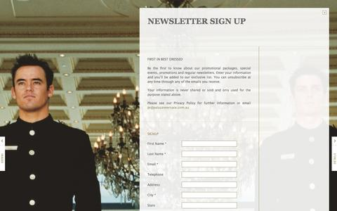 Screenshot of Signup Page palazzoversace.com.au - Newsletter Sign Up | Palazzo Versace - captured Sept. 30, 2014