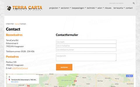 Screenshot of Contact Page terracarta.nl - Contact - captured Aug. 27, 2017