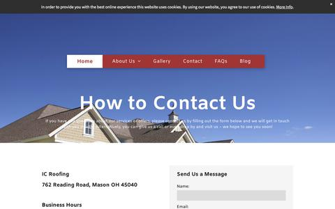 Screenshot of Contact Page ic-roofing.com - Contact - captured Sept. 19, 2018